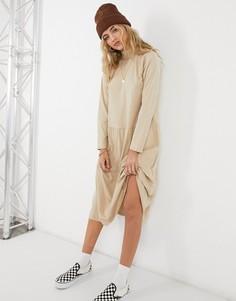 Бежевое свободное платье миди с ярусной юбкой ASOS DESIGN-Кремовый