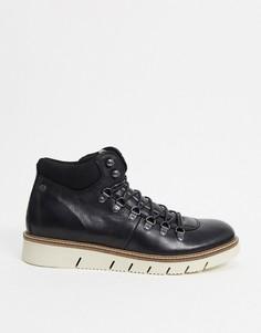 Черные кожаные походные ботинки с контрастной подошвой Jack & Jones-Черный