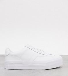 Белые кожаные кроссовки на толстой подошве для широкой стопы ASOS DESIGN-Белый