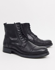Черные кожаные ботинки на шнуровке Jack & Jones-Черный