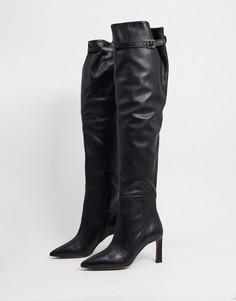 Черные кожаные ботфорты на среднем каблуке ASOS DESIGN-Черный