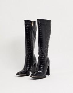 Черные сапоги до колен Simmi London Melisa с отделкой под кожу крокодила и металлической вставкой-Черный