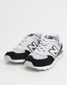 Серые/черные замшевые кроссовки New Balance 574-Серый