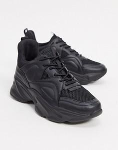 Черные кроссовки на массивной подошве Steve Madden-Бежевый