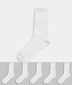Комплект из 5 пар носков в рубчик New Look-Кремовый