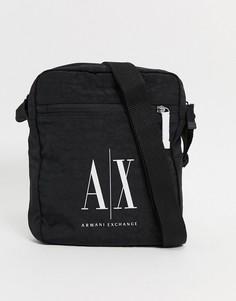 Черная сумка через плечо с логотипом Armani Exchange Icon AX-Черный