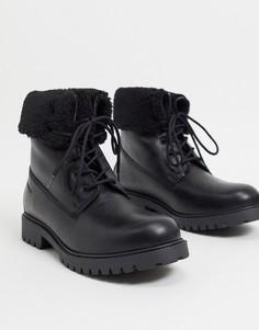 Черные кожаные ботинки с подкладкой из искусственного меха ALDO-Черный