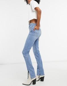 Синие узкие джинсы с разрезами Bershka-Синий