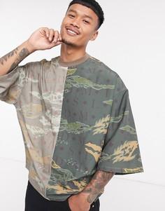 ASOS DESIGN футболка оверсайз из нейлона и трикотажа с камуфляжным принтом и широким рукавом 3/4-Мульти