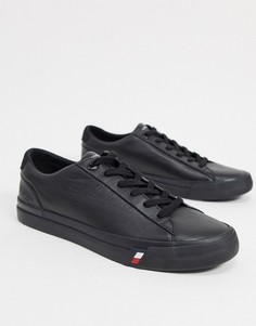 Черные кожаные кроссовки с логотипом сбоку Tommy Hilfiger-Черный