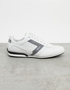 Белые кроссовки с логотипом на заднике BOSS-Белый