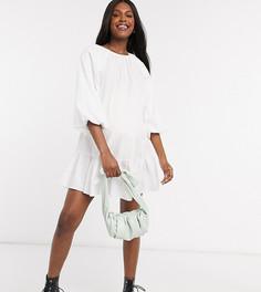 Белое свободное платье мини из поплина ASOS DESIGN-Белый