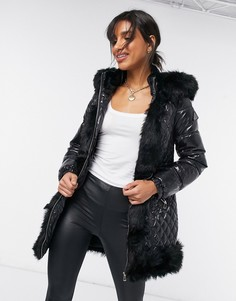 Черное пальто с отделкой искусственным мехом River Island-Черный