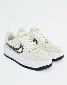 Кроссовки с декоративной строчкой и логотипом-галочкой Nike Air Force 1-Кремовый
