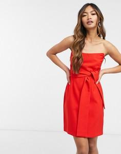 Красное платье-бандо мини с бантом Vesper-Красный