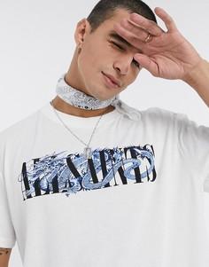 Белая футболка AllSaints Draco с принтом-Черный