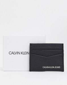 Черная кожаная кредитница Calvin Klein Jeans-Черный