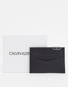 Черный кошелек для карт с серебристым логотипом Calvin Kelin Jeans