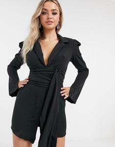 Черное платье-пиджакиз крепа с подплечникамии поясом I Saw It First-Черный