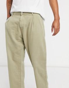 Широкие джинсы бежевого цвета Bershka-Бежевый