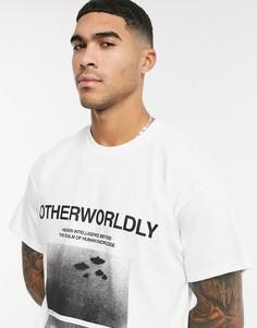 Серая футболка с принтом спереди Topman-Серый