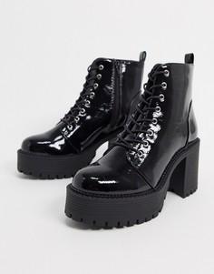 Черные ботинки со шнуровкой на массивной подошве и каблуке Truffle Collection-Черный