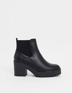 Черные ботинки челси на массивной подошве и каблуке New Look-Черный