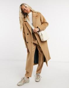 Бежевое двубортное пальто из шерсти с разрезами по бокам Selected Femme-Светло-коричневый