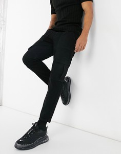 Черные джинсы с карманами карго ASOS DESIGN-Черный