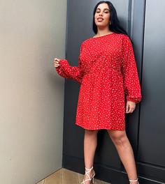 Свободное платье мини с мелким цветочным принтом Daisy Street Plus-Красный