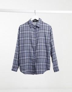 Черно-синяя рубашка в клетку в стиле oversized Heartbreak-Мульти