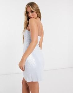 Голубое платье мини бандо с пайетками Club L-Синий