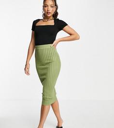 Вязаная юбка с узором «косичка» цвета хаки от комплекта Missguided Tall-Зеленый
