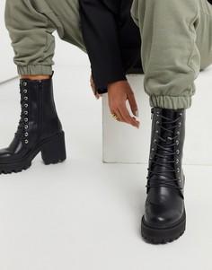 Черные массивные ботинки на каблуке со шнуровкой из искусственной кожи Truffle Collection-Черный