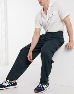 Узкие строгие брюки с завышенной талией, контрастной отстрочкой и карманами карго ASOS DESIGN-Темно-синий