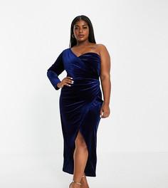 Эксклюзивное бархатное темно-синее платье макси на одно плечо с запахом Jaded Rose Plus-Темно-синий