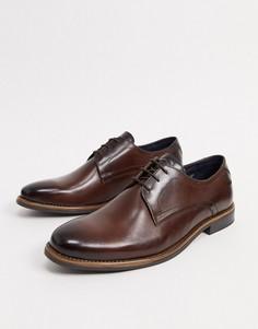 Коричневые кожаные туфли на шнуровке Base London-Коричневый