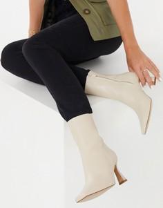Бежевые кожаные ботинки на каблуке & Other Stories-Бежевый