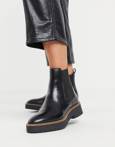 Черные кожаные ботинки челси на массивной подошве и каблуке & Other Stories-Черный