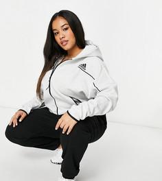 Худи большого размера серого цвета на молнии adidas Training plus-Серый