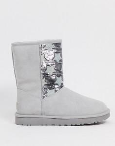 Серые ботинки с пайетками UGG-Серый