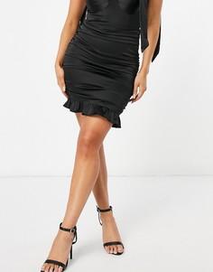 Черная атласная юбка с рюшами NaaNaa-Черный