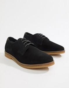 Черные замшевые туфли на шнуровке Silver Street-Темно-синий