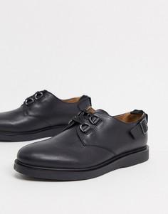Черные кожаные туфли на шнуровке с пряжками H by Hudson-Черный