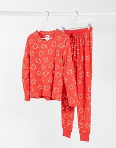 Новогодняя длинная пижама с фольгированным принтом Chelsea Peers-Красный