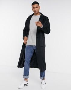 Черное удлиненное пальто из ткани с добавлением шерсти Another Influence-Черный