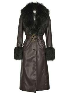 Pinko пальто из искусственной кожи с меховыми вставками