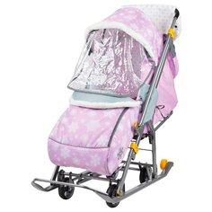 Санки-коляска Nika Наши Детки (НДТ) со снежинками розовый