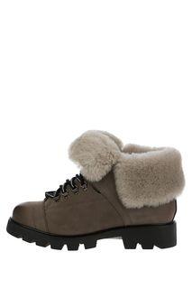 Серые зимние ботинки из нубука с меховой отделкой Graciana