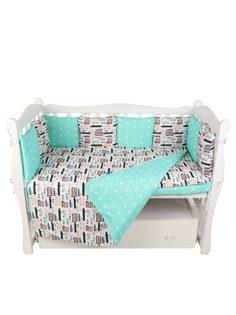 Комплект в кроватку 15 предметов подушек-бортиков AmaroBaby Трасса бязь